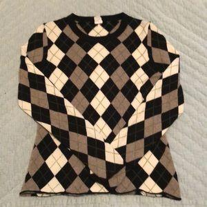 J Crew 100% Cashmere Argyle Sweater - Medium